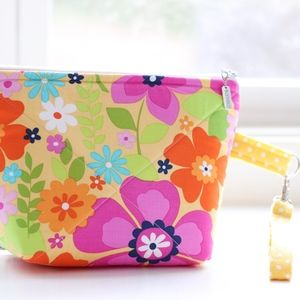 Quilted Cosmetic Bag with detachable wristlet